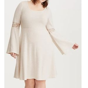 Lace inset hacci knit skater dress Torrid 2 - NWT